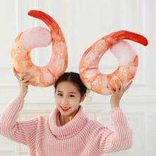 New 1pc 40cm Creative Plush Peeled Prawns Stuffed Animals Toys U Neckpillow Shrimp Cushion Pillow Kids Birthday Gift