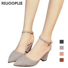 RIUOOPLIE Women Sandalias Femeninas High Heels Autumn Flock Pointed Sandals Sexy Female Summer Shoes
