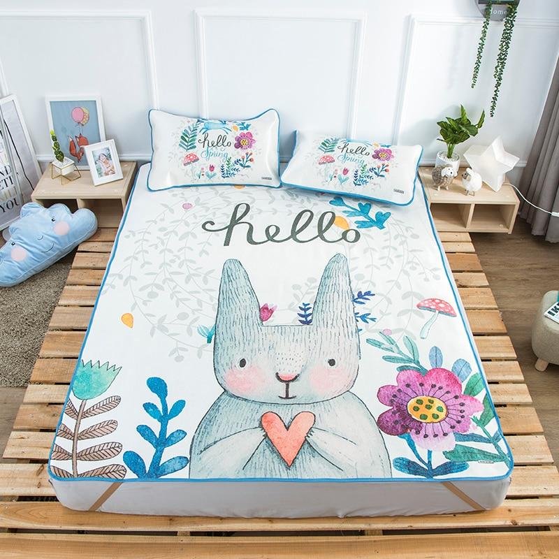 Summer simple Viscose fiber Mat Fitted sheet set Summer Cool Mat bed cover sleeping mattress protector