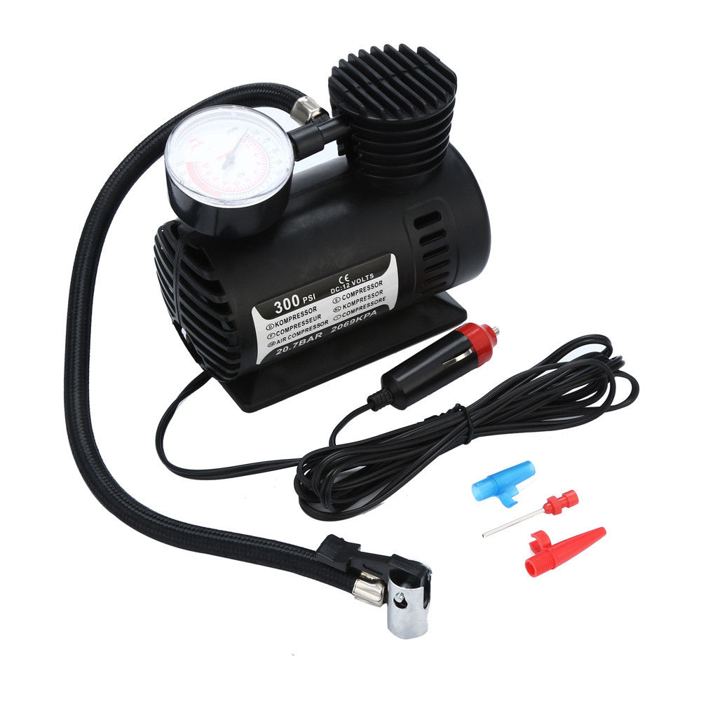Car air pump 1pcs 12V 300 PSI Mini Air Compressor Portable Car Van Bike Tyre Inflator Dropship 19Y14(China)
