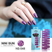 16pcs Real Nail Polish Strips Elegant Purple Shining Nail Art Sticker Self-Adhesive Gel Nail Patch Full-Cover Strip DIY Manicure
