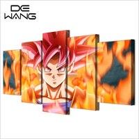5 Unidades de Pared Arte Sol Wukon Dragon Ball Lienzo de Pintura de Dibujos Animados Modular de Bellas artes Para Niños Salón Impresión Del Cartel Decoración Del Hogar