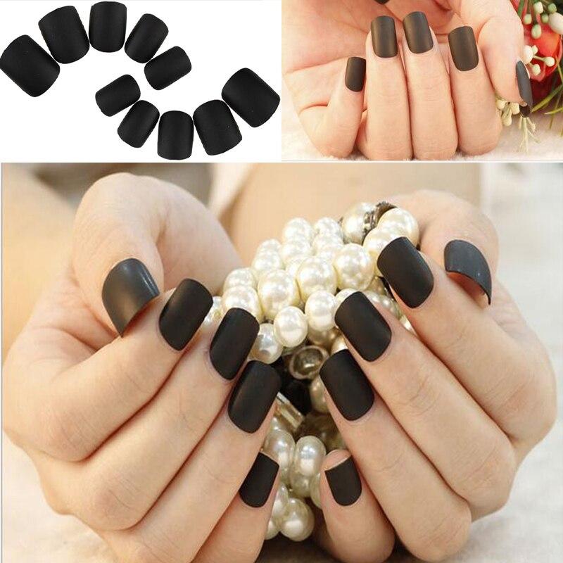 12Sets Full Cover Matte Black Self Adhesive Fake Nail Polish Tips ...