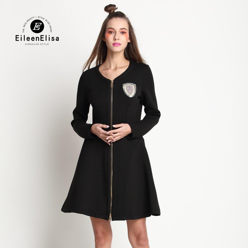 Платье черное на молнии спереди