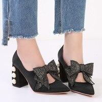 Дизайнерская обувь женские жемчужные каблуки высоких каблуках шпильках Роскошные Большой бабочкой со стразами пикантные вечерние модельн