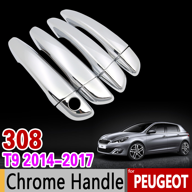 for Peugeot 308 t9 2014-2017 Chrome Handle Cover Trim Set 2nd Gen 308sw 308GT GTI 2015 2016 Car Accessories Stickers Car Styling for mazda cx 5 cx5 2nd gen 2017 2018 interior custom car styling waterproof full set trunk cargo liner mats tray protector