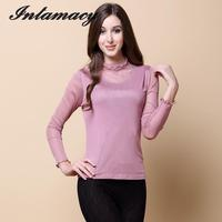 The New Silk Knitted Mesh Double Long Sleeved Turtleneck Shirt Color Diamond 100% real Silk T shirt
