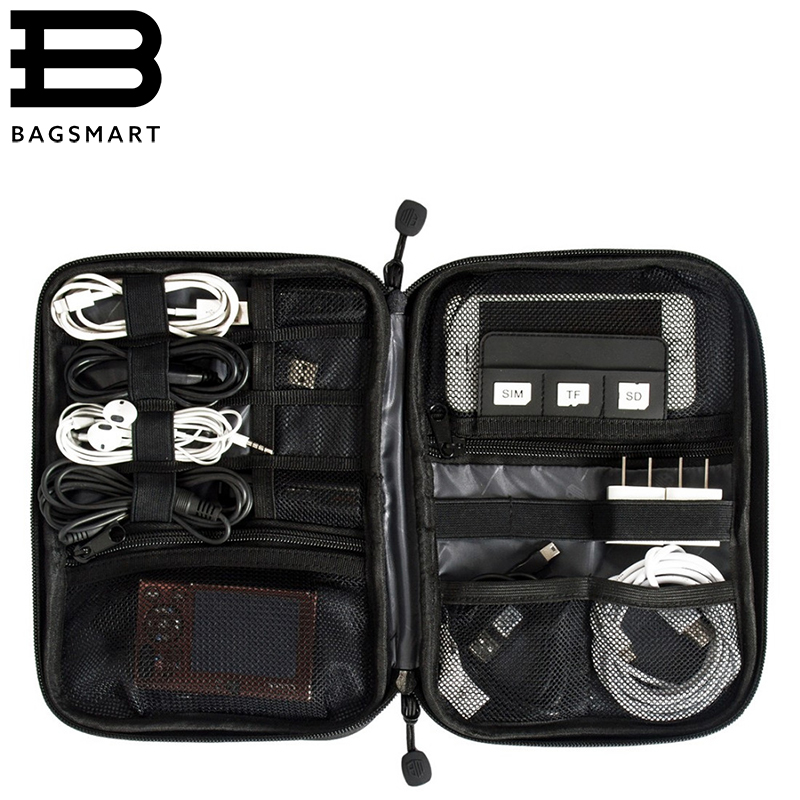 BAGSMART Electronic Accessories Travel Bag Nylon Mens Travel Organizer For Date Line SD Card USB Cable Digital Device Bag