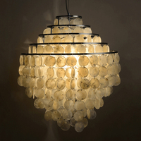 Modern Nordic Seashell Chandeliers Lights Fixture 5 Circles Natural Sea Shell Droplight Home Indoor Lighting Hanging Lamps D50cm