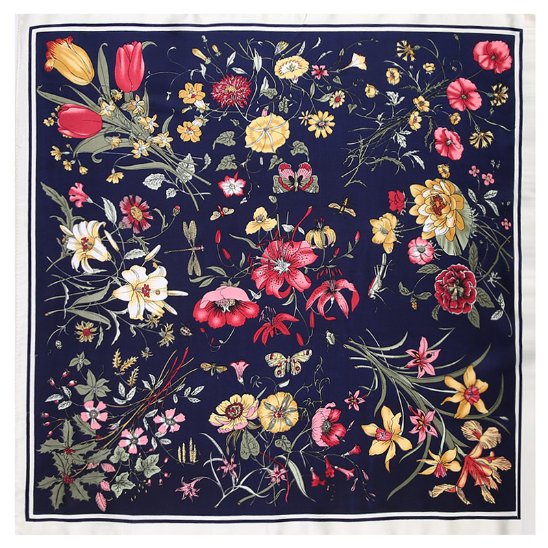 60cm Square Scarf Brand Bandanna Women Twill Silk Scarf 2019 Lily Flower Headband Print Scarf Fashion Professional Neckerchief