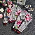 2 ШТ./2-6Years/Весна Осень Новорожденных Девочек Мода Одежда Детская Одежда Устанавливает Цветы Куртки + Брюки детский спортивные Костюмы BC1370