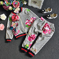 2PCS/2-6Years/Spring Autumn Baby Girls Clothes Fashion Kids Clothing Sets Flowers Jackets+Pants Children's Sports Suits BC1370