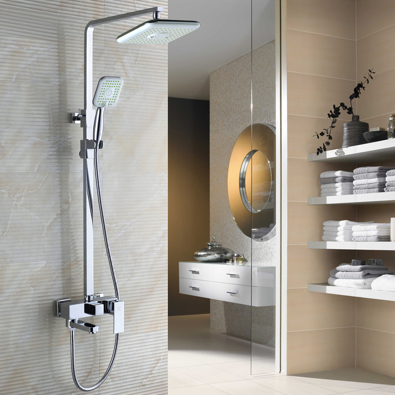 3 fonctions robinets de douche salle de bain robinet ensemble Chrome finition laiton fait ensemble de douche 8 pouces pluie douche robinet mélangeur buse pour baignoire