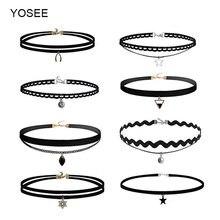 Yosee 8 шт ожерелье чокер черное кружевное кожаное женское с