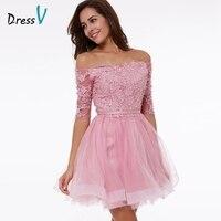 Dressv peach A line homecoming dress off the shoulder appliques half sleeves above knee homecoming dress short graduation dress