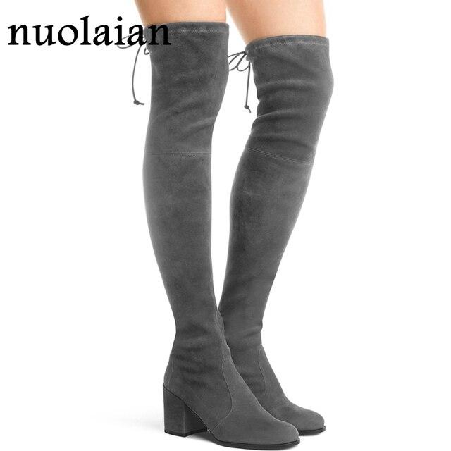 b4a95d5a2 7.5CM High Heels Winter Boots Women Thigh High Snow Boots Woman Faux Fur  High Heel