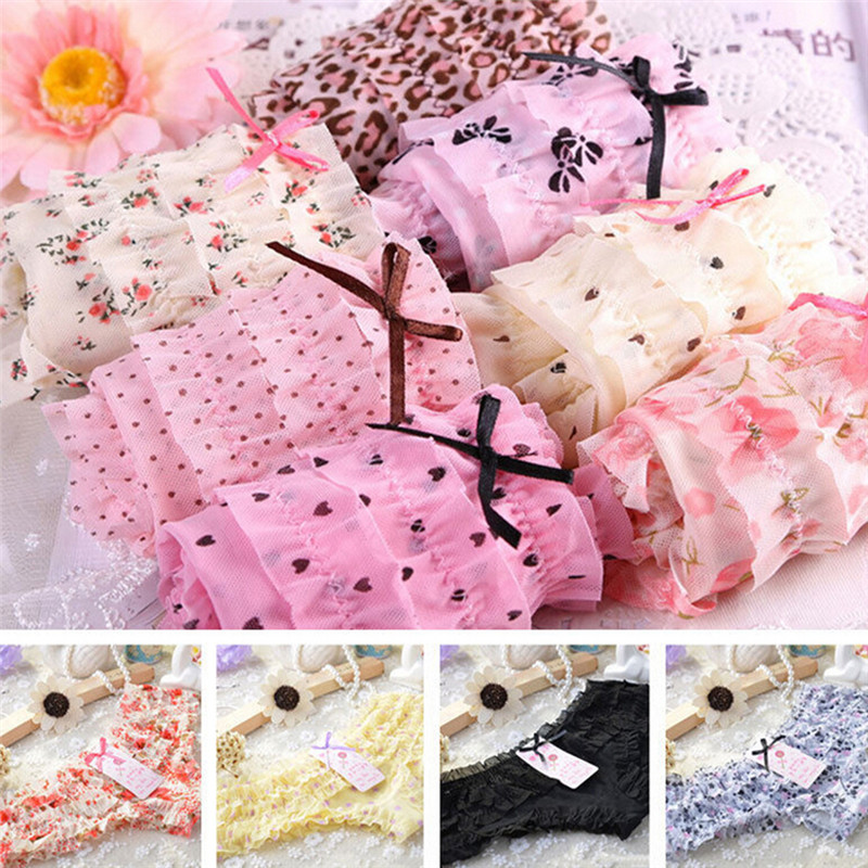 8 Colors Women Butt Lifter Briefs Lovely Girl Sexy Dot Female Underwear Women Lace Ruffles Women's Sheer   Panties