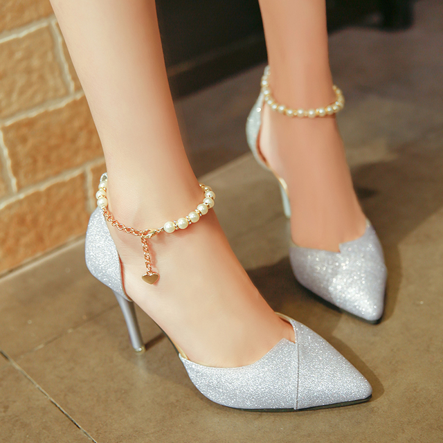67b764440ea99 2018 women pumps pearl bead High Heels shoes sequined bling shoes 10CM  party Shoes Woman sandals golden silver point shoes