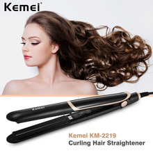 Kemei KM-2219 Ceramic Hair Straightening Iron Flat Curling Hair Straightener Electric Irons Thermostatic Coating Styling Tool(China)