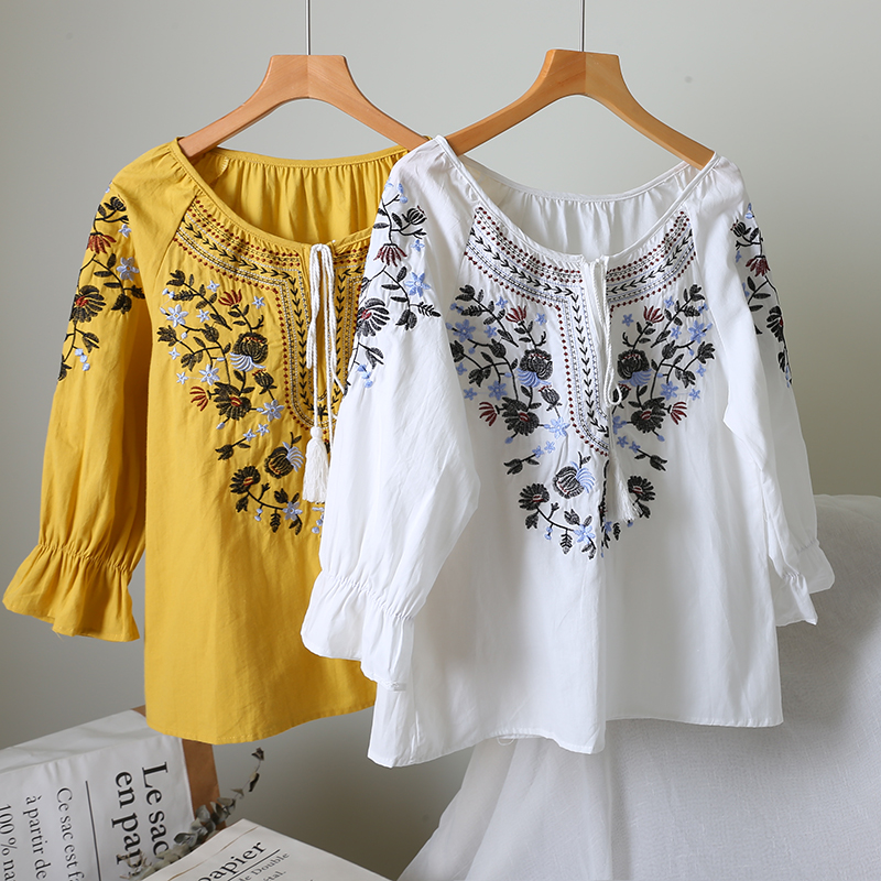 Summer Women Floral Cotton Three Quarter Sleeves Pullover   Shirt   Female Casual Lace-up   Blouse     Shirts   Ladies Embroidery Suits