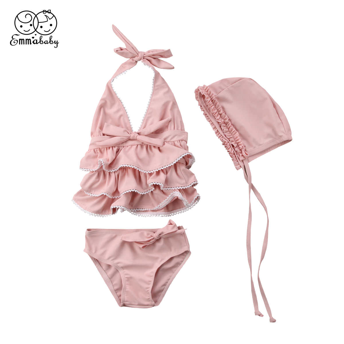 Emmababy Baby Girls Ruffle Swimsuit Bathing Costume Party Swimwear Tops+Bottoms+Hat 3PCS