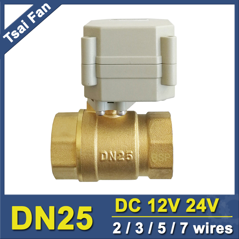TF25-B2-A BSP/NPT 1 Brass Motor Operated Valve DC12V / DC24V 2/3/5/7 Wires DN25 Electric Motorized Ball Valve
