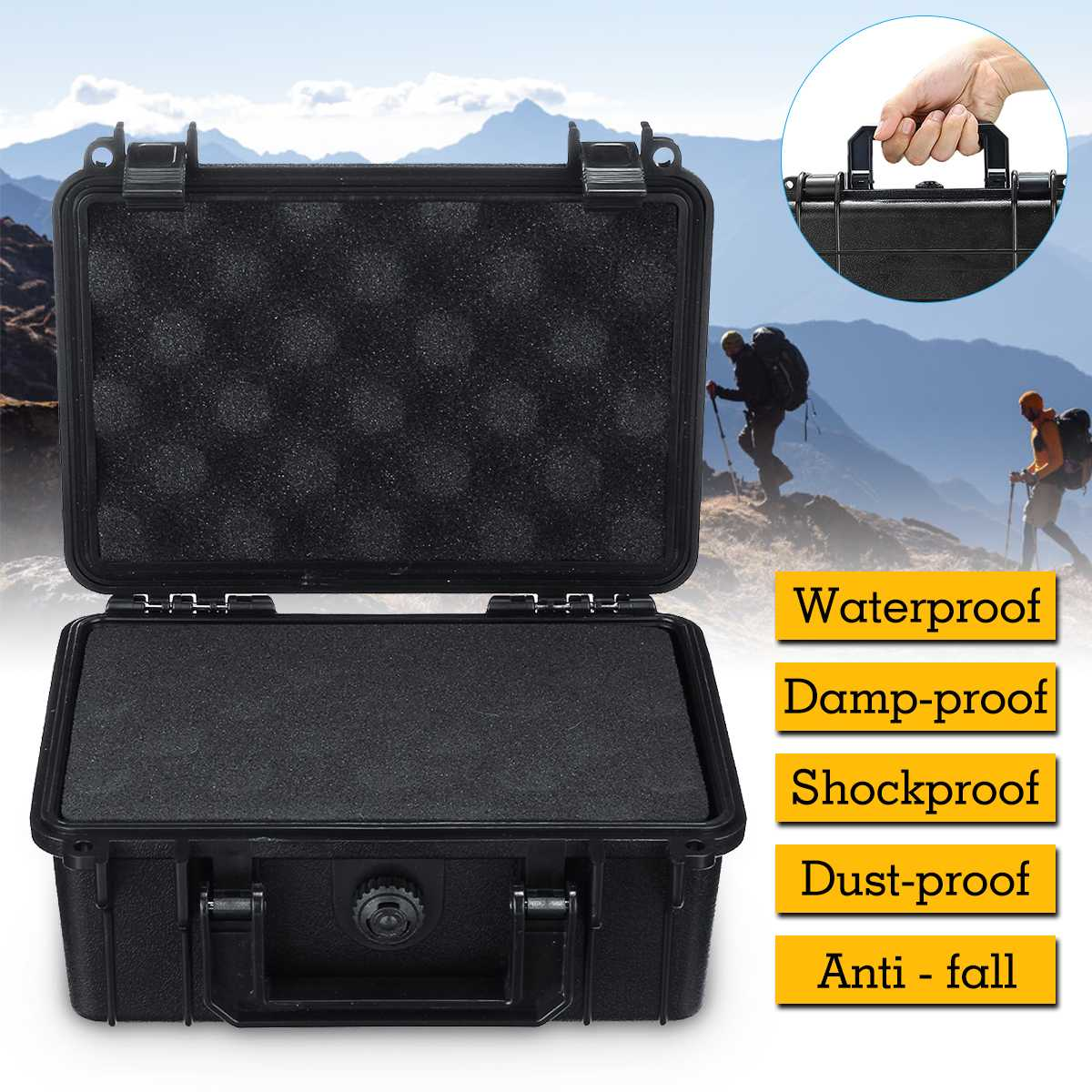 Portable Safety Instrument Tool Box Waterproof Shockproof Storage Toolbox Sealed Tool Case Impact Resistant Suitcase With Foam