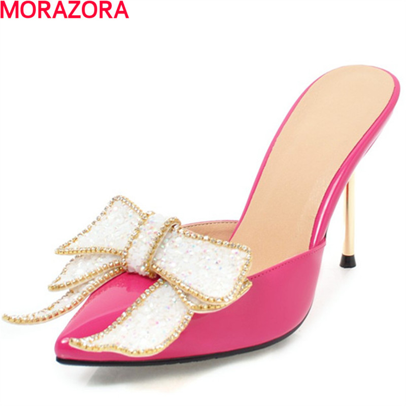 MORAZORA new arrival women extreme high heels fashion glitter party summer sweet pumps simple pointed toe wedding shoes new 2017 spring summer women shoes pointed toe high quality brand fashion womens flats ladies plus size 41 sweet flock t179