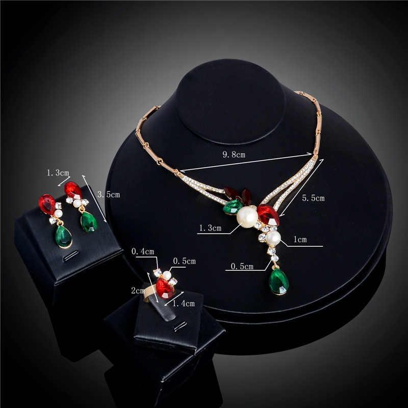H: HYDE новые золотые женские Австрийские кристаллы имитация жемчуга цепи цветок ожерелье серьги кольцо свадебные ювелирные наборы