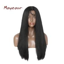 Світла Yaki Пряма синтетична мережива Фронтова парика Гладкі та м'які волосся Довгі чорні шнурки парики для чорних жінок