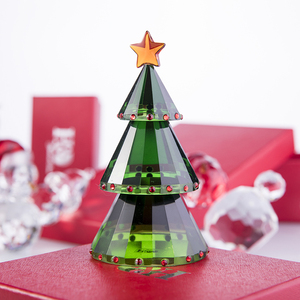 Image 2 - H&D Green Crystal Glass Christmas Tree Holiday Figurine with Gift Box Handmade Collectible Gift Craft for Christmas Day