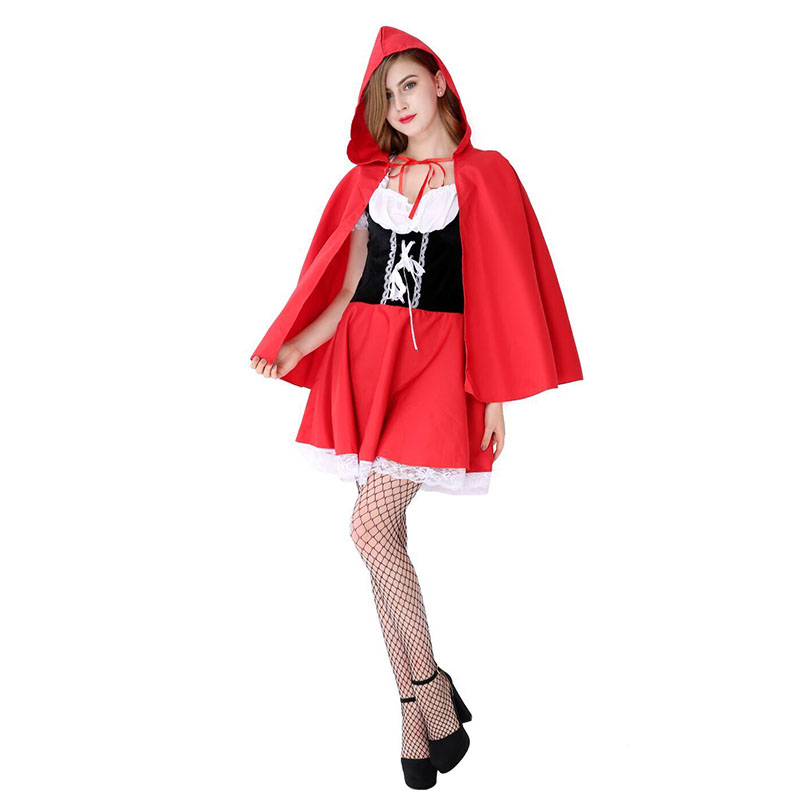 Women Little Red Riding Hood Costume Adult Cosplay Dress 3 Piece In One