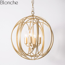 Modern Round Pendant Lights Gold Cage Hanging Light Fixtures Loft Industrial Home Decor for Dining Room Kitchen Lamp Luminaire недорого