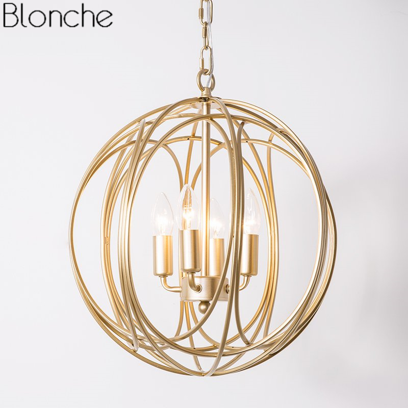 Modern Round Pendant Lights Gold Cage Hanging Light Fixtures Loft Industrial Home Decor for Dining Room Kitchen Lamp Luminaire