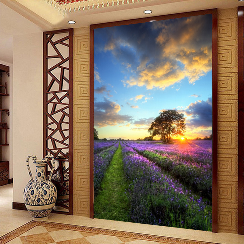 Beautiful natural scenery mural of Lavender in the sunset for corridor restaurant porch decorate wallpaperBeautiful natural scenery mural of Lavender in the sunset for corridor restaurant porch decorate wallpaper
