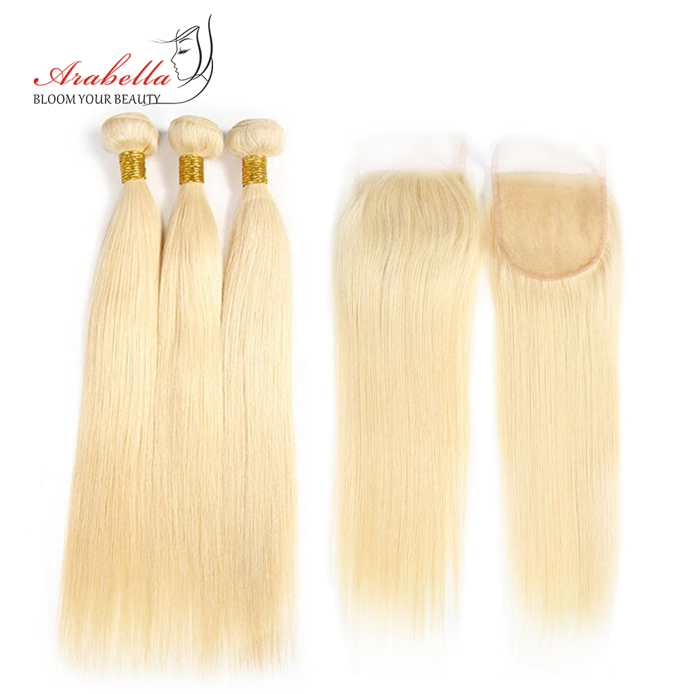 Brazilian 613 Bundles With Lace Closure Straight Remy Hair Extension Arabella 100 Human Hair Weave Blonde