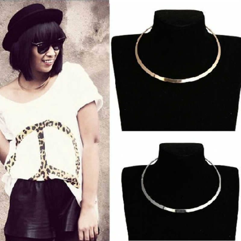 x272 Punk Style Gold Silver Color Metal Choker Necklace For Women Clavicle Chain Statement Necklace High Quality Dropshipping