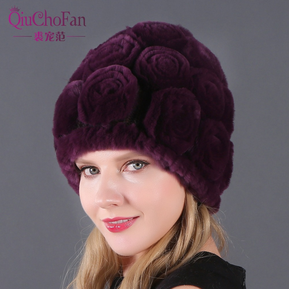 Wholesale And Retail Girls Real Rex Rabbit Fur Caps Flowers Winter Hats Skullies Cap Real Fur Knitted Rabbit Beanies Lady Caps