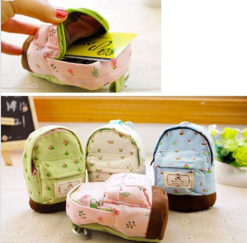 New Fashion Kawaii Fabric Canvas Mini Floral Backpack Women Girls Kids Cheap Coin Pouch Change Purses Clutch Bags Wholesale