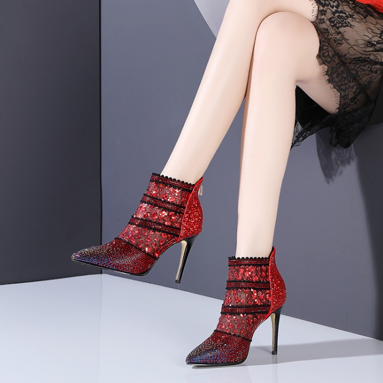 breathable mesh boots summer women ankle boots sheepskin Sexy high heels Pointed toe crystal womens dress Wedding shoesbreathable mesh boots summer women ankle boots sheepskin Sexy high heels Pointed toe crystal womens dress Wedding shoes
