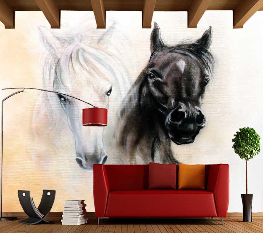 Personalizado 3D wallpaper abstrato, aquarela cavalo preto e branco mural para sala quarto sofá fundo decoração de casa