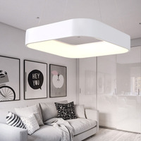 Modern Simple Square LED Pendant Light For Dining Room Kitchen Island Foyer Bedroom Study Stairs Aluminum Ring Hanging Lamp
