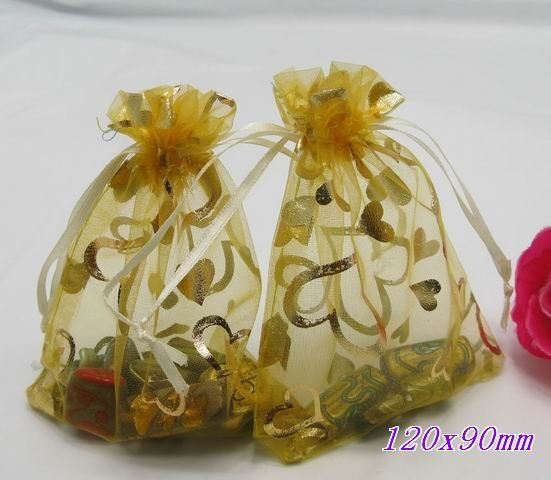 300pcs GOLD ORGANZA wedding jewellery bags 120x90mm+ Gift&Free