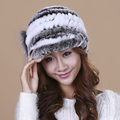 Women's Winter Rex Fur Hat Knitted Beanies Exclusive Design 2016 New Fashion Warm Cute Female Fur Caps Ball Hat TM9