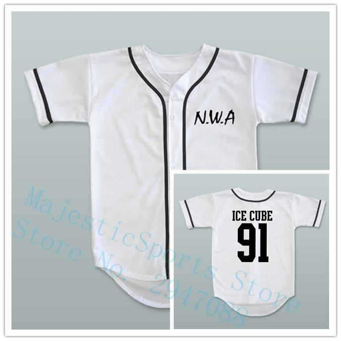 N.W.A. Ice Cube 91 White Baseball Jersey Size M-3XL ...