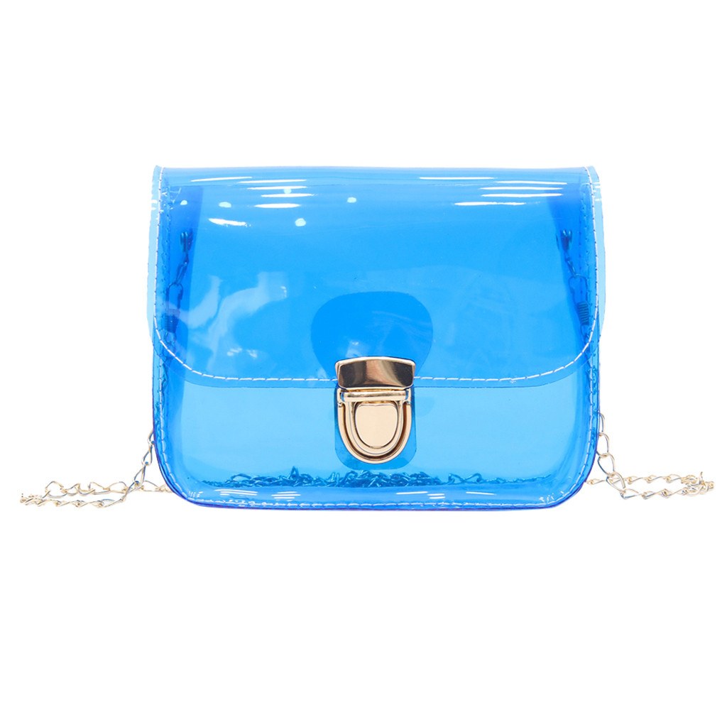 Clear Transparent PVC Shoulder Bags Women Candy Color Women Jelly Bags Purse Solid Color Handbags sac a main femme Crossbody Bag(China)