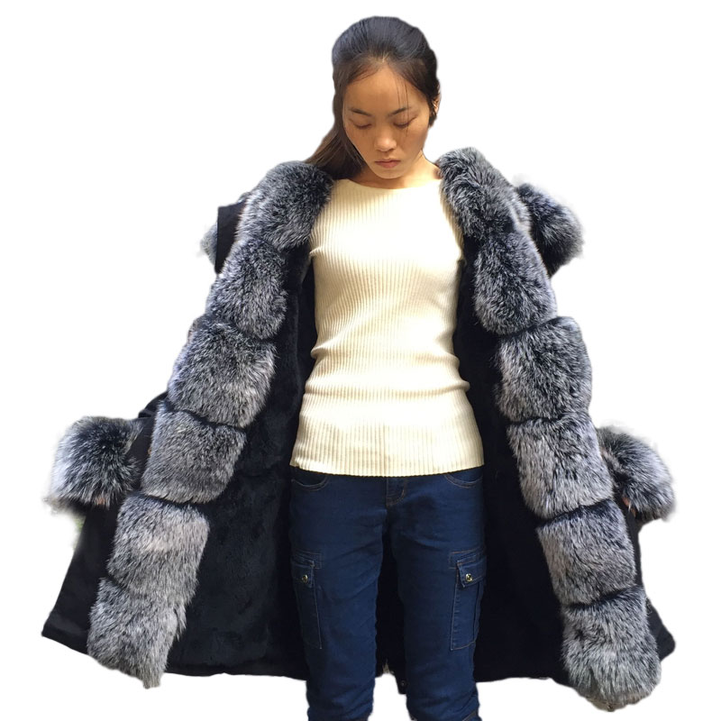 Loose Long Warm Fox Fur Collar Coat Women Winter Real Rex Rabbit Fur Liner Hooded Jacket Women Bomber Parka Female Ladies FP899 2017 winter new clothes to overcome the coat of women in the long reed rabbit hair fur fur coat fox raccoon fur collar