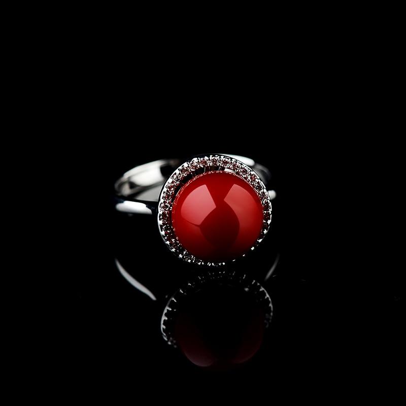 Anel Wanita Merah Buatan Karang Cincin Rose Gold Anel De Pedra - Perhiasan fashion - Foto 3