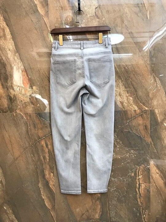 Pants0226 D'été Printemps Et Nouvelle Décontracté Décoratif Denim Bleu Poches Femmes Pantalon Etats Symétrique Pieds Europe De 2019 unis Eqgnw1WaES
