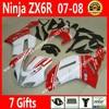 Free Custom Fairings For Kawasaki ZX6R 2007 2008 Ninja 636 Fairing Kits 07 08 White Red